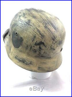 WW2 WWII German Helmet, Winter Snow Camo, Scrub, EF62, Original, Liner, Steel, Army