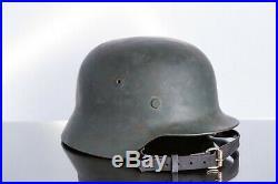 WW2 WWII German M35 Helmet after professional restoration Liner Chinstrap