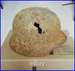 WW2 WWII Original German Helmet M35/M40-62 with Original Leather liner Dug relic