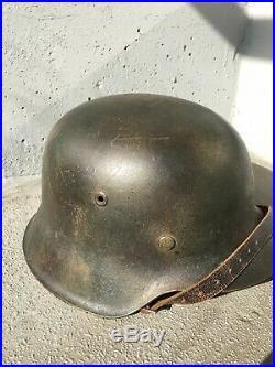 WW2 WWII Original German M42 Luft Tri color Normandy Camo Helmet