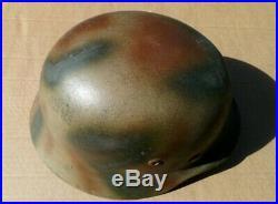 WW2 german M35 helmet camo paint chin strap liner Normandy or Panzer camo elite