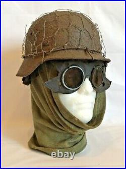 WW2 original German M 35 camouflage mesh helmet + anti-frost scarf + goggles