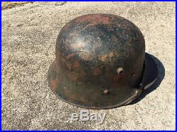WW2 two decal German helmet with name scratched inside