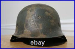 WWII German M42 3 Color Normandy Camo Helmet WW2