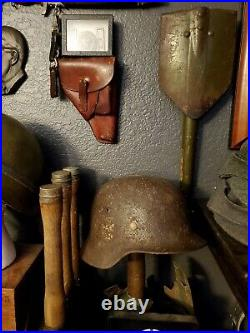 WWII WW2 German Helmet Relic M35 DD SS liner Partial Camo cover with Hangars