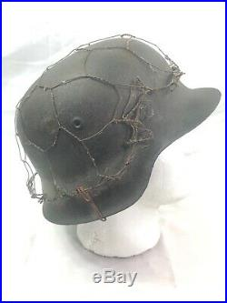 WWII WW2 German Helmet Shell, M42, Barbed Wire, Original, Army, Wehrmacht, Wrap, Heer