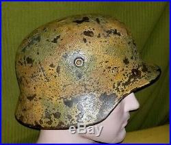 WWII WW2 German Luftwaffe Camouflaged M40 Helmet Q66 Tri Camo Original NICE