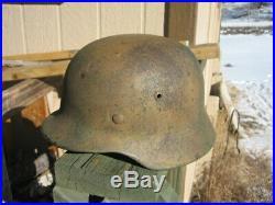 W. W. 2 German M-1935 Combat Helmet With Liner And Camo Paint