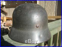 W. W. 2 German M 35/40 Helmet And Liner Band A Some Leather Liner In Place Q 62