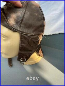 Ww2 German Genuine Leather Motorcycle Pilot Hat Helmet Hood Aviator