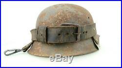 Ww2 German Helmet Leather Carrier, Original, Complete, Rare