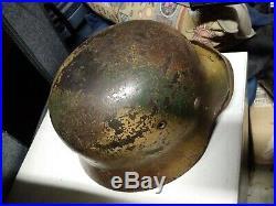 Ww2 German Helmet Normandy Tri Color M40 100% Authentic Top Shelf