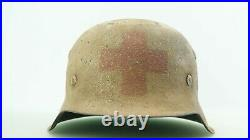 Ww2 German M-42 Medic Helmet, Wh, Nice Condition, Came From Collection, Sz 64/56