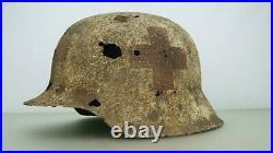Ww2 German M-42 Winter Camo Medic Helmet
