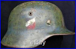 Ww2 German Model 1935 Double Decal Heer Army Helmet Et68 Large Size Chinstrap