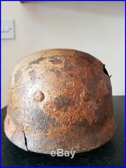 Ww2 German Rare Relic Snow Camo Paratrooper Helmet