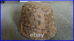 Ww2 German camouflaged original helmet cover reversible