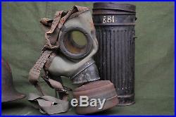 Ww2 German m40 helmet and gasmask lot, original ww2 lot