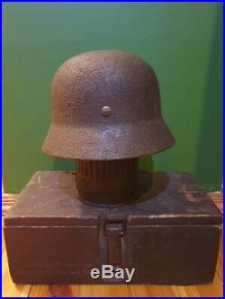 Ww2 Original German M35 Helmet Elite Troops XX Battle Damaged Q64