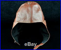 Ww2 Wwii Luftwaffe German Aviator Pilot Leather Helmet Hat Cap