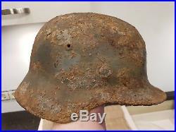 Ww II Ww2 Original German Helmet M-35 From Battlefield Kurland