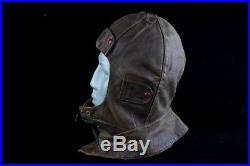 Wwii Original German Luftwaffe Pilot Aircrew Leather Flight Helmet Ww2